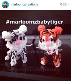Rainbow Loom Baby Tiger - The tutorial is already on my YouTube Channel. TAG me on Instagram using #marloomzbabytiger or share on my Facebook page www.facebook.com/marloomzcreations Rainbow Loom Tutorials, Rainbow Loom Patterns, Rainbow Loom Creations, Loom Bands Designs, Loom Band Patterns, Loom Love, Fun Loom, Rainbow Loom Charms, Rainbow Loom Bracelets