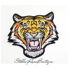 Bengal Tiger Iron-On. Can be : Ironed On, Sewn on or Glued on with Fabric Glue. This is a great item for sleeves, hats, jackets, totes and so much more! Angry Tiger, Pet Tiger, Bengal Tiger, Sew On Patches, Iron On Patches, Love To Shop, Fabric Glue, Shopping Deals, Embroidered Patch