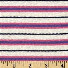 Designer Cotton Blend Rib Knit Stripes White/Purple/Pink