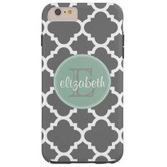 Charcoal and Mint Quatrefoil Pattern Monogram Tough iPhone 6 Plus Case