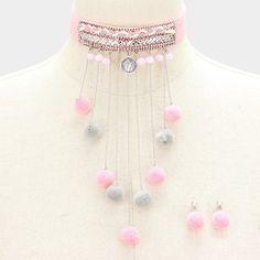 pom pom choker boho necklace