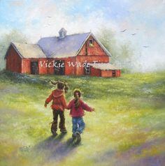 Two Sisters Red Barn Farm Original Oil by VickieWadeFineArt