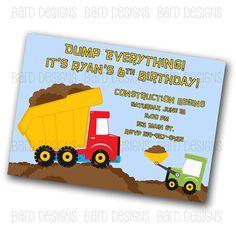 Dump Truck  Construction Custom Digital Birthday by BardDesigns, $10.00