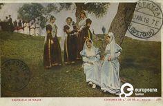"""Επιχρωματισμένη φωτογραφία γυναικών με φορεσιές Λευκάδας. Επιγραφές: """"11. ΙΑΝ. 16"""" """"17-3-16"""", """"ΕΝΔΥΜΑΣΙΑΙ ΛΕΥΚΑΔΟΣ, COSTUMES DE L'ILE DE Ste. MAURE, 303"""" Δημιουργός: Afoi G. Aspioti postcard Ημερομηνία: 1916 Ημερομηνία Δημιουργίας: 1916   Συλλέκτης: Peloponnesian Folklore Foundation Ίδρυμα: Europeana Fashion Folk Dance, Traditional Dresses, Greece, Poster, Greek Costumes, Painting, Islands, Album, Clothes"""