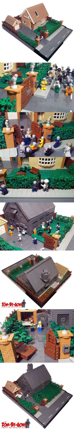 house in the country. The Zom-Be-Gone Complete Home Protection SystemThe Zom-Be-Gone Complete Home Protection System Legos, Lego Zombies, Lego Boards, Lego Craft, Lego Modular, Cool Lego Creations, Home Protection, Lego Architecture, Lego House