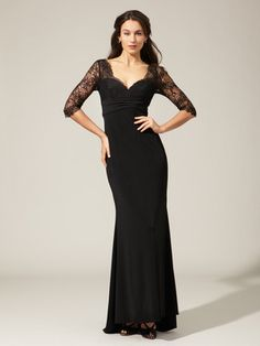 Amsale Jersey Lace Top Gown