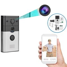 Wifi Enabled Doorbell HD Video Camera and Intercom Home Automation System, Smart Home Automation, Wireless Home Security, Home Security Systems, Secret Storage, Intercom, Camera Phone, Video Camera, Security Camera