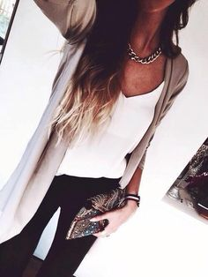 beige cardigan, simple white top, black jeans, gold chain necklace. #dinner #outfit