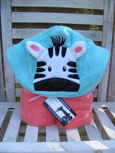 Hooded Towel Cute Zebra Great for the Bath or Beach! Choose your color - pinned by pin4etsy.com