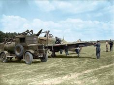Ground crew refuelling a Hawker Hurricane Mk. I of Nº 501 Squadron RAF from an Albion AM 463 petrol bowser at Betheniville, France. May 1940. TheHawker Hurricaneis a British single-seatfighter aircraftof the 1930s–1940s that was designed and predominantly built byHawker AircraftLtd for theRoyal Air Force(RAF). Although overshadowed by theSupermarine Spitfire, the aircraft became renowned during theBattle of Britain, accounting for 60 percent of the RAF air victories in the battle…