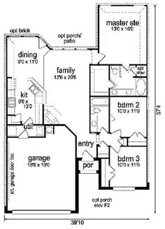 Craftsman 3 Beds 2 Baths 1366 Sq/Ft Plan #84-263 Main Floor Plan - Houseplans.com