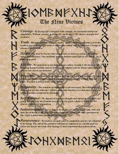 The Nine Noble Virtues  Like me on Facebook for Special Offers! www.facebook.com/pages/The-Norse-Warlock/113159862098696 Follow Me! Tumblr:  www.tumblr.com/blog/NorseWarlock &  Twitter: https://twitter.com/NorseWarlock  Shop: www.NorseWarlock.com & www.bonanza.com/booths/NorseWarlock