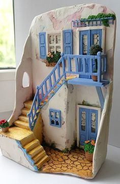 Framework Santorini by Vincenzo Abbot Clay Houses, Ceramic Houses, Ceramic Clay, Clay Projects, Clay Crafts, Diy And Crafts, Miniature Rooms, Miniature Houses, Clay Fairy House
