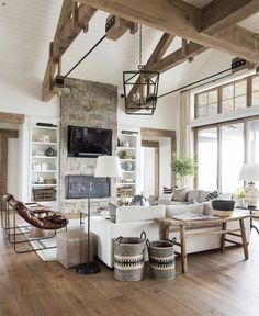 A big, cozy, rustic living space! interior SM Ranch House: The Living Room Cottage Living Rooms, Home Living Room, Living Room Designs, Rustic Modern Living Room, Cottage Homes, Rustic Room, Modern Cabin Decor, Modern Log Cabins, Country Modern Home