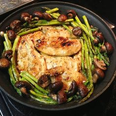 SAUTEED CHICKEN IN LEMON BUTTER SAUCE WITH ROASTED ASPARAGUS &  MUSHROOMS