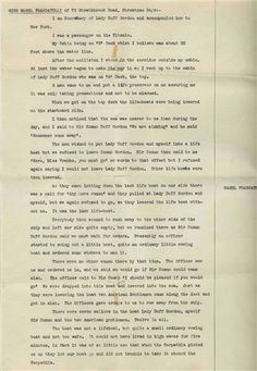 Titanic Survivor Stories | disaster in the form of an affidavit signed by Titanic survivor ...