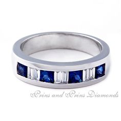 There are 4 = 0.72ct princess cut sapphires and 6 = 0.225ct FG/VVS – VS baguette cut diamonds channel set in an 18k white gold half eternity ring