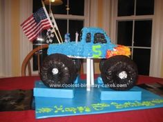 Homemade Monster Truck Birthday Cake: My son always chooses his own birthday theme, and this year he wanted a Monster Truck cake for his fifth birthday party. I make all my kids' cakes each