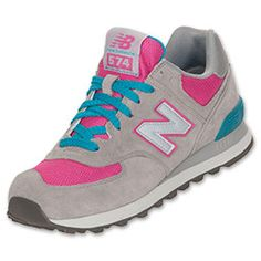 Women's New Balance 574 Suede Casual Shoes| FinishLine.com | Grey/Pink/Blue