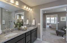 Transitional Master Bathroom with Custom Mirrors, New Caledonia Granite, Oregon Tile & Marble, Avalon Cabinets