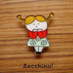 Zacchino!のゆるいオリジナルイラストをブローチにしました。線、着色ともにひとつひとつ手作業で丁寧に仕上げています。「うふふ」そんなことがあったの?うふ...|ハンドメイド、手作り、手仕事品の通販・販売・購入ならCreema。