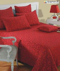 Swayam Valentine Red Double Bed Cover