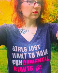 "@msdarcyfarrow wearing Cyndi Lauper's ""Girls Just Want to Have Fundamental Rights"" shirt!"