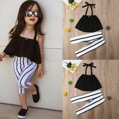 US Toddler Kid Baby Girl Clothes Strap Tops+Stripe Long Pants Summer Outfits Set Girls Summer Outfits, Toddler Outfits, Kids Outfits, Summer Dresses, Newborn Girl Dresses, Baby Dress, Girls Dresses, Infant Dresses, Pants Outfit