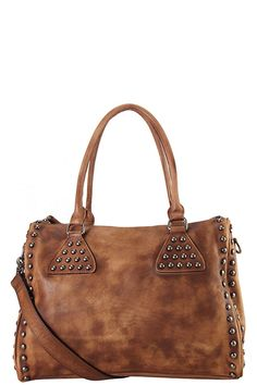 GENUINE LEATHER STUDDED DECOR LARGE TOTE BAG