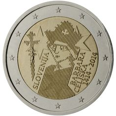 2014 Slovenia commemorative €2 coin: The 600th anniversary of the crowning of Barbara Celjska. The central image of the coin shows, with lined pattern, the portrait of the Queen Barbara of Celje with her sceptre. On the image are placed three typical six-pointed stars of Celje counts. On the left side of the portrait is the inscription 'SLOVENIJA' and on the right side the inscription 'BARBARA CELJSKA' and the years '1414-2014'.  Mintage: 1,000,000
