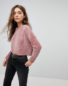 Only Chenille Crop Sweater - Pink
