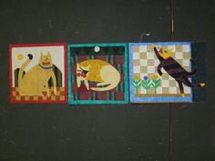 """❤ =^..^= ❤  Nancy Near Philadelphia: And here's my progress on those crazy primitive cats. Blocks 1, 2 and 3 complete. Block 4 is on the handwork pile for evening buttonhole stitch and embroidery.  Blocks 5 and 6 need fabric.  Block 7 is moving along toward the handwork pile ... HD: Another """"Will she or won't she?""""?"""