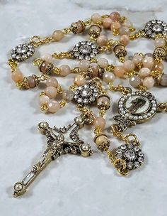 Pearl of Mary Natural Peach Moonstone gemstone Artisan Rhinestone Gold Rosary