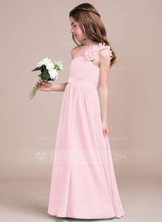 A-Line Princess One-Shoulder Floor-Length Chiffon Junior Bridesmaid Dress  With Ruffle Flower(s) - JJsHouse 2c92ebb008f9