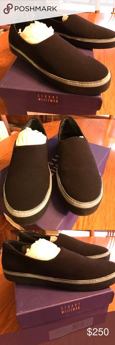 Stuart Weitzman black slip on shoes Stuart Weitzman black micro Flair sneakers! Very comfortable! Like new, worn once!! Stuart Weitzman Shoes Sneakers