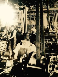 Picture showing women working in a factory during World War II. An area that women were previously not allowed to work