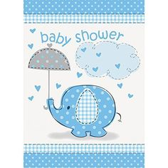 Blue Elephant Boy Baby Shower Invitations, 8ct Unique