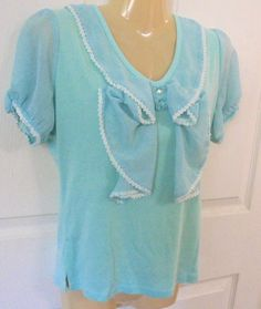 JANEY Light Teal Pullover Top V-neck with Ruffles and lace. Short Cap Sleeves…