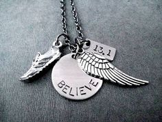 RUN BELIEVE Fly Your Distance Round Pendant Necklace  Runner