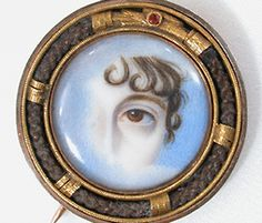 Beautiful Lover's Eye Miniature Portrait Brooch - circa 1820