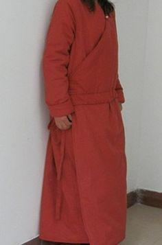 linen padded long overcoat