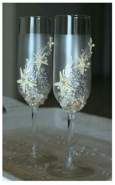 His and Hers Under the Sea Wedding Glasses