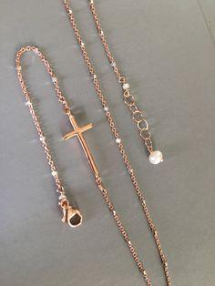 Sideways Cross Bracelet, Rose gold cross bracelet, Layered Bracelet, Christian Jewelry, Cross Bracelet, Dainty jewelry, Side Cross Bracelet