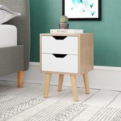 dddb84961f3 Bedside Table Storage 2 Drawer White Oak Colour Wooden Frame Bedroom  Furniture