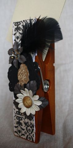 Gold Cameo Floral Extra Large Clothespin Photo/Note Holder