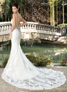 28741fa6eb Datangep Women s Lace Mermaid Backless Spaghetti Straps Beaded Wedding Dress  at Amazon Women s Clothing store