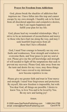 25 Addiction Recovery Tips and Quotes Free Catholic Holy Cards - Catholic Prayer Cards - St Therese of Lisieux - St. Joseph - Our Lady of Guadalupe - Sacred Heart of Jesus - John Paul the Great - Support Missionary work Serenity Prayer, Faith Prayer, God Prayer, Power Of Prayer, Prayer Scriptures, Bible Prayers, Catholic Prayers, Bible Verses, Deliverance Prayers