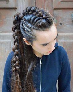 viking braids aesthetic in 2020 viking hair braided hairstyles viking brai aesthetic brai braided braids hair hairstyles viking Big Box Braids Hairstyles, Pretty Braided Hairstyles, Fast Hairstyles, Braided Ponytail, Wedding Hairstyles, Viking Hairstyles, Baddie Hairstyles, Vintage Hairstyles, Summer Hairstyles