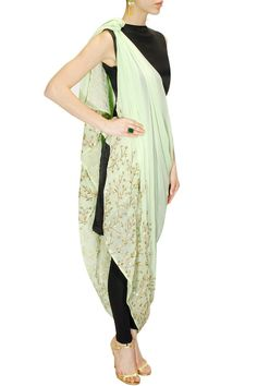 PRATHYUSHA GARIMELLA Mint green embroidered drape dress with black inner available only at Pernia's Pop-Up Shop.