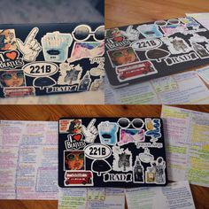 a personal photo of mine of my laptop with stickers from RedBubble along  with some notes